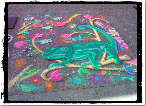 chalk art lizard